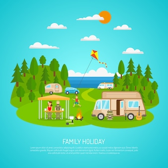 Family camping illustration