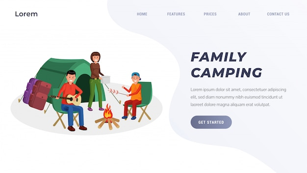 Family camping landing page