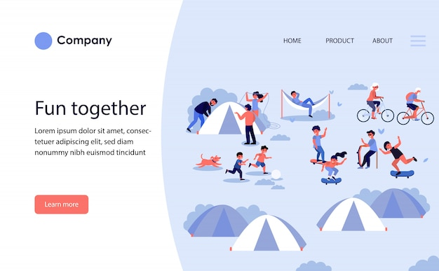 Family camping with tents. website template or landing page