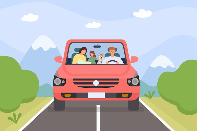 Family in car. parents, kid and pet on weekend holiday road trip. minivan with people. cartoon adventure travel in mountain, vector concept. illustration outdoors vacation trip, drive family