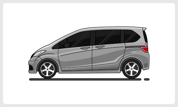 가족용 자동차 은색 자동차 측면 보기 쉽게 편집 가능