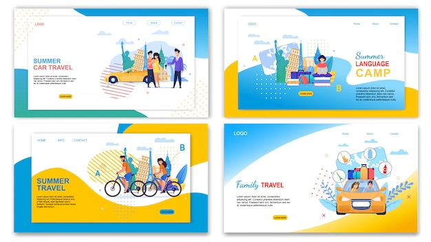 Family car travel summer language camp banner set