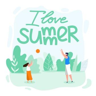 Family card written i love summer cartoon flat
