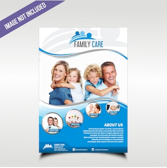 Family care business brochure with blue wave theme