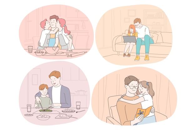 家族の世話、父性、子供時代、読書、レジャーの概念。男父パパコーチ親演奏