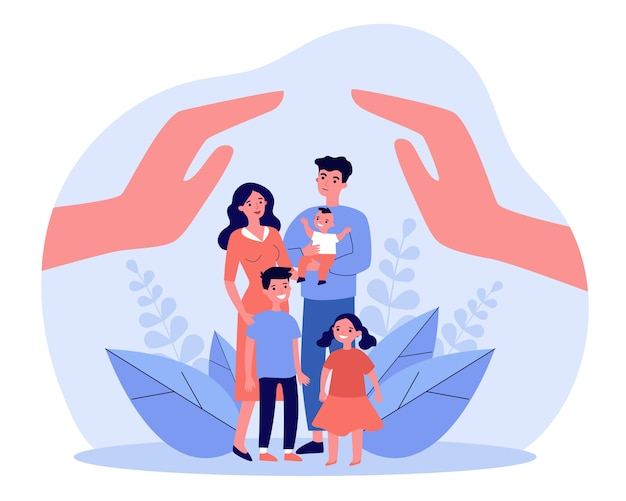 Family care or help concept. human hands above parents couple and three children.  illustration for hygiene, state protection, assistant topics, advertising poster template