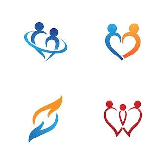 家族のケアのロゴとシンボルテンプレートベクトル