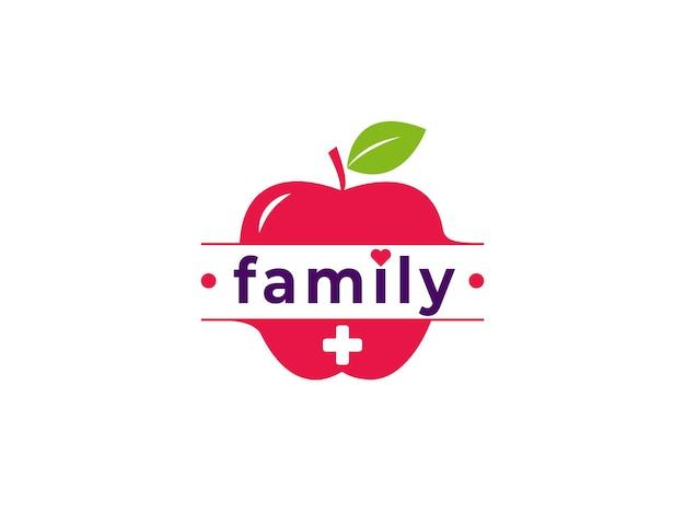 빨간 사과 신선한 과일 일러스트와 함께 가족 관리 로고
