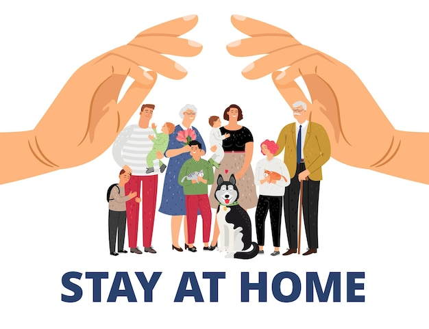 Family care. stay at home, pandemic or epidemic concept.
