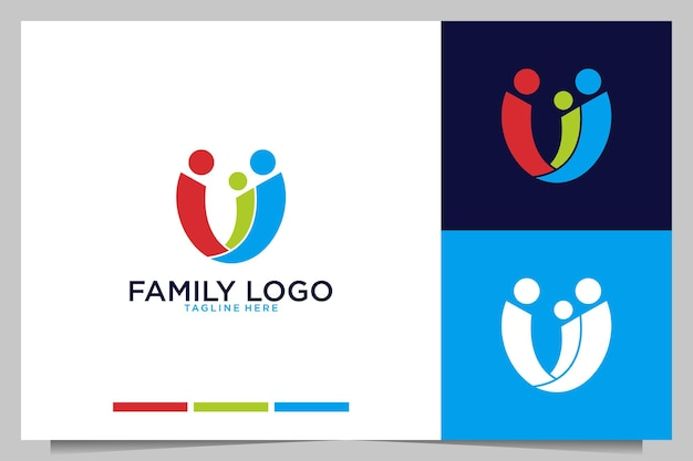 抽象的な人々のロゴデザインと家族のケア