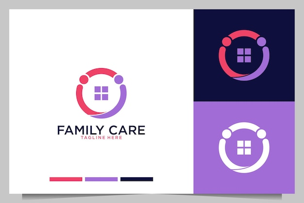 Family care with simple people logo design