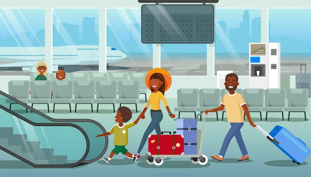 Family carrying baggage in airport cartoon vector