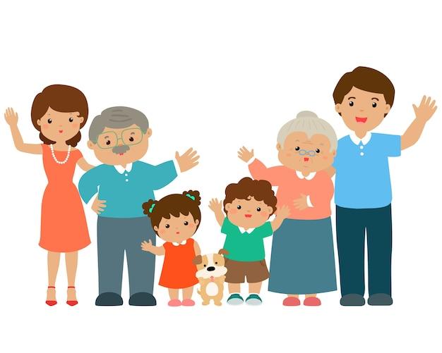 Family cartoon character vector.