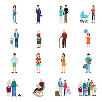 家族漫画のアイコンを設定します。人々は漫画アイコンを分離しました。白い背景の上のベクトル図家族。