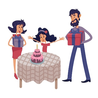 가족은 아이 생일 평면 만화 일러스트를 축하합니다. 아이에게 선물을주는 아버지와 어머니.