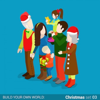 Family celebrates christmas isometric vector illustration.