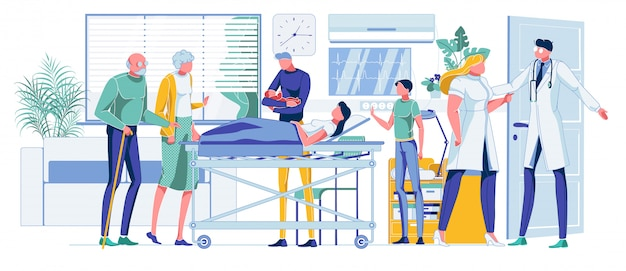 Family celebrating baby birth in hospital ward