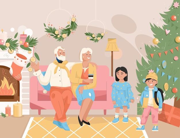 크리스마스 개념 손자와 조부모를 축 하 하는 가족