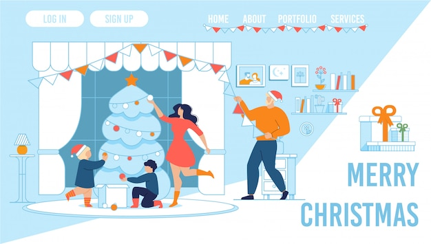 Family celebrating christmas at home landing page