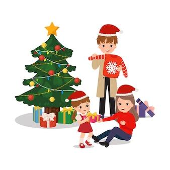 함께 크리스마스를 축 하하는 가족. 함께 선물을 교환하고 개봉합니다. 행복 한 부모와 딸 클립 아트. 플랫 스타일 벡터 절연입니다.