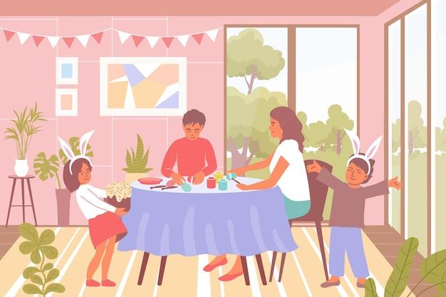 家族は、ウサギのスーツを着て、テーブルのイラストで卵を飾る子供たちとイースターフラット背景を祝う