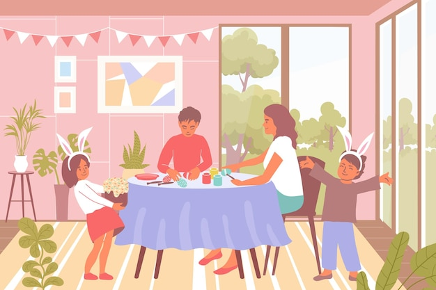 Family celebrating easter flat background with kids in rabbit suits and decorating eggs at table illustration