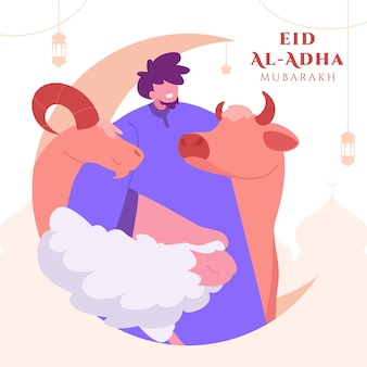 Family celebrating eid al adha mubarak background with sheep and crescent moon for greeting card