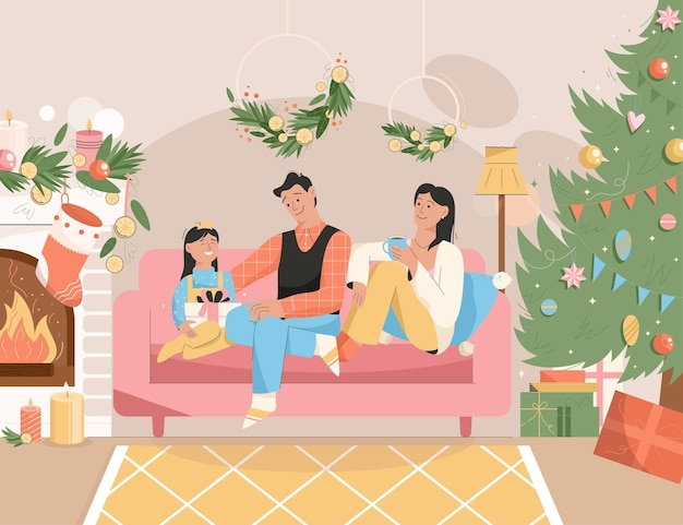 Family celebrating new year holiday at home scene