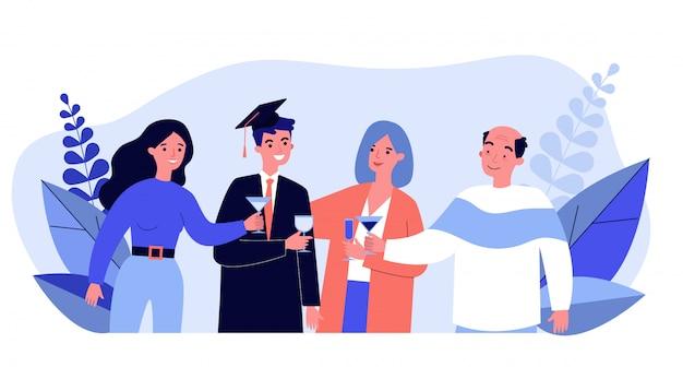 Family celebrating university graduation of son