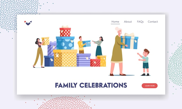 Family celebration landing page template. people give presents on holiday. granny presenting gift to little child on birthday. parents and kids characters loving relations. cartoon vector illustration
