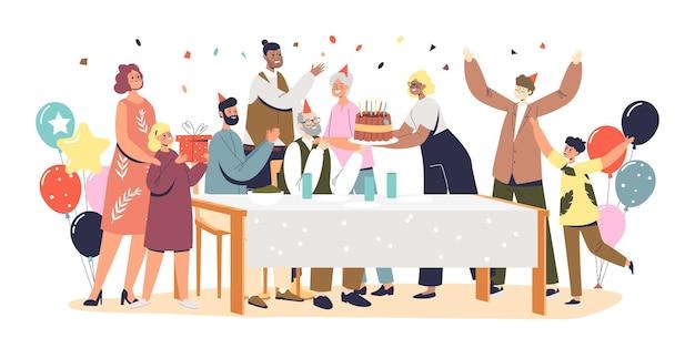 Семейный праздник с бабушками и дедушками, родителями и детьми, собирающимися, чтобы отпраздновать юбилей деда за украшенным для дня рождения столом, тортом и подарками. плоские векторные иллюстрации шаржа