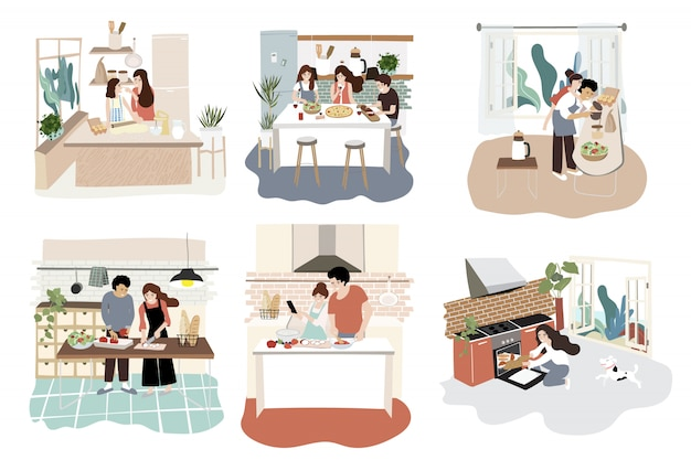 Family character design in kitchen with activity on cooking