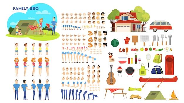 Семейный персонаж на барбекю установлен для анимации