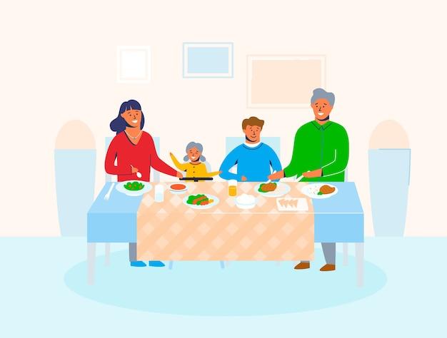 テーブルに座って食べ物を食べたり、話し合ったりする子供たちと一緒に家にいる家族のキャラクター。幸せな漫画の母、父、娘、息子の休日の夕食。