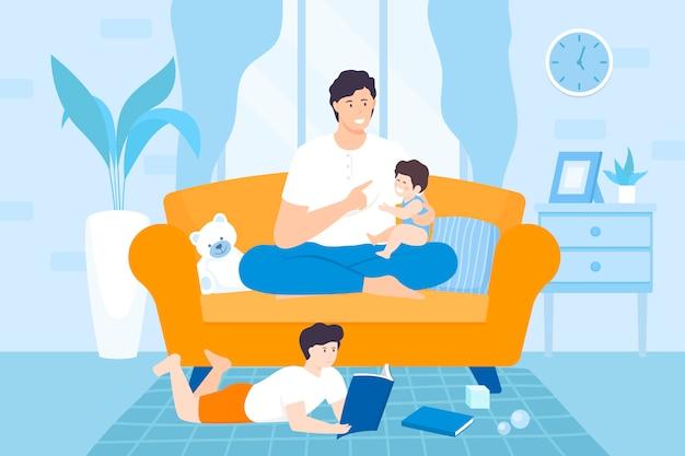 一緒に時間を過ごす子供たち、父、娘、息子が自宅で遊んでいる子供たちと家のリビングルームフラットイラスト。家で幸せなお父さんと子供たちの家族。