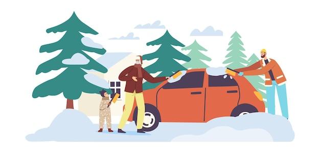 Семейные персонажи убирают снег во дворе дома. папа и дедушка с детским чистящим автомобилем припаркованы возле коттеджа, люди чистят машину от льда и снега в зимнюю метель. векторные иллюстрации шаржа