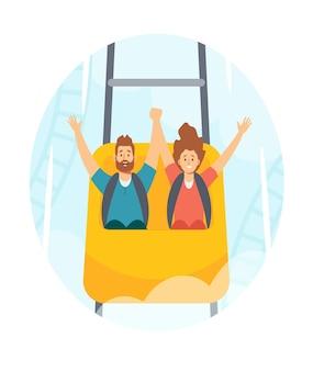 Семейные персонажи мужчина и женщина катаются на американских горках в парке развлечений, веселая ярмарка, карнавал, выходные, досуг