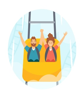 Family characters man and woman riding roller coaster in amusement park, fun fair carnival weekend activity, leisure