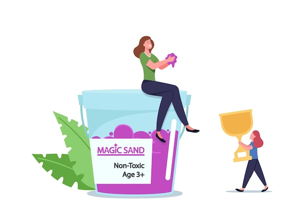 Family characters mother and daughter playing with kinetic sand for fun and fine motor skills development. amusement recreation, girl with golden winner cup. cartoon people vector illustration