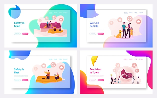 Family characters need help at flood landing page template set.
