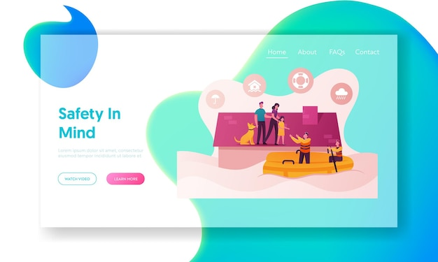 Family characters need help at flood landing page template.