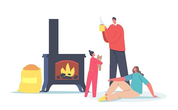 생물 석탄, 스토브용 목재 펠렛을 사용하는 가족 캐릭터 부모와 아기 난방 홈. 생태, 사람들은 천연 대체 바이오 석탄을 사용합니다
