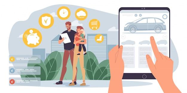 Семья выбирает автомобиль для перевозки в мобильном приложении