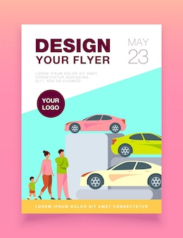 Family choosing new car in automobile store flyer template