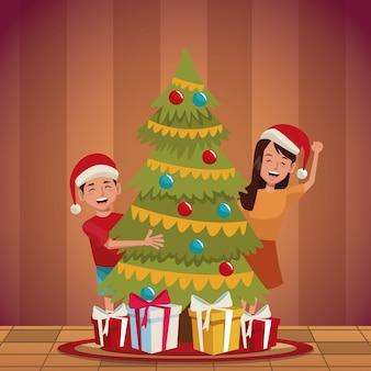 Family christmas cartoon
