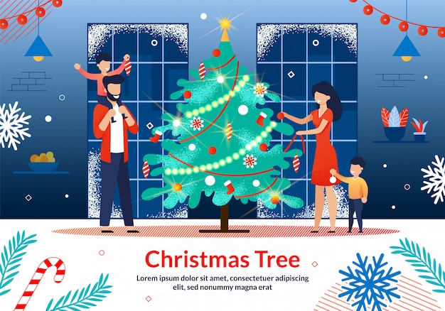 Family christmas celebration flat vector illustration