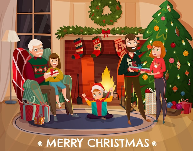 Family christmas congratulation illustration