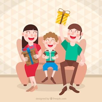 Scena di natale in famiglia con doni