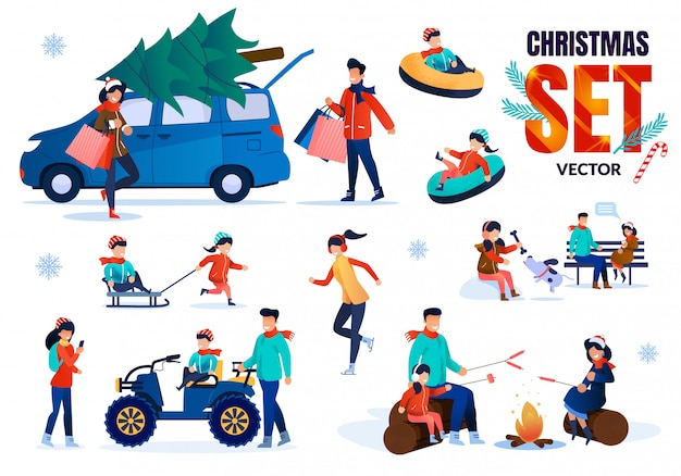Family christmas time flat vector characters set