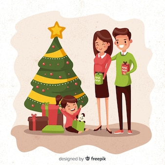 Family in christmas
